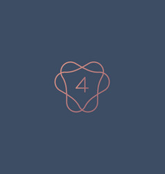 Abstract linear monogram number 4 logo icon design vector