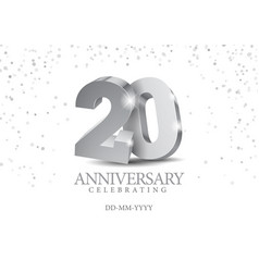anniversary 20 silver 3d numbers vector image