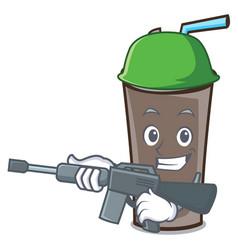 Army ice chocolate character cartoon vector