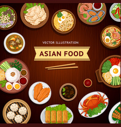 Asian food traditional national dishes on a vector