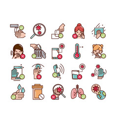 avoid and prevent spread covid19 icons set line vector image