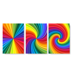backgrounds set vivid rainbow colored swirl vector image