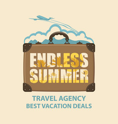 banner with travel suitcase and airplane vector image