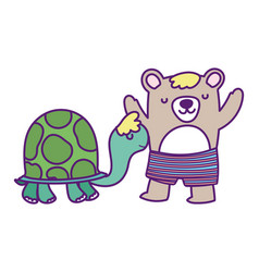 bashower cute bear with short pants and turtle vector image
