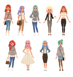 beautiful young women with long dyed hair set vector image