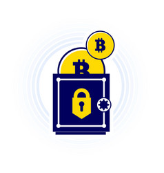 Bitcoin is kept safe trend in a flat vector