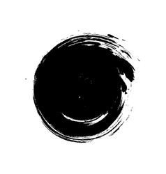 Black grunge hand-drawn round spot on white vector