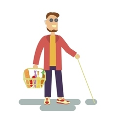Blind person with walking stick vector