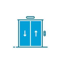 Blue simple hotel or hostel elevator icon vector