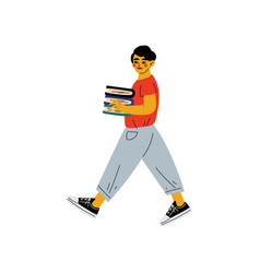 boy in casual clothes walking to school or library vector image