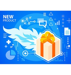 Bright fire and gift box with bow on blue ba vector