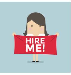 businesswoman holding a banner for hiring vector image