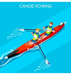 Canoe Coxless Pair 2016 Summer Games 3D vector image vector image