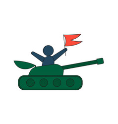Cartoon tank in a flat style man with red flag vector