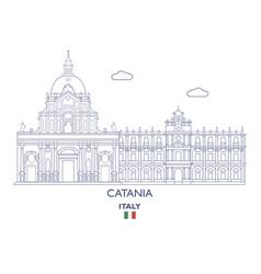 catania city skyline vector image