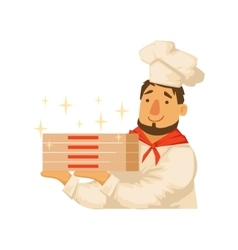 Chef Holding Pile OF Pizza BoxesPart Of Italian vector