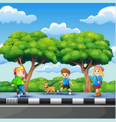 Children enjoying on roadside vector