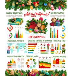 christmas gifts and xmas tree infographics vector image
