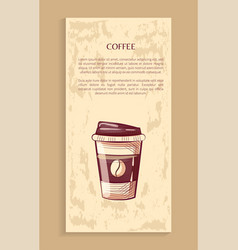 coffeeshop poster disposable mug with lid coffee vector image