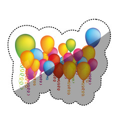 Colored many party balloon with serpentine icon vector