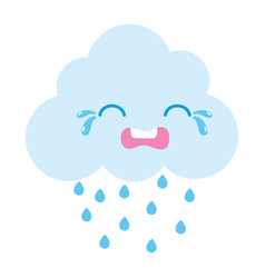 Colorful crying natural cloud weather kawaii vector