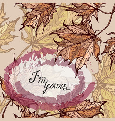 colorful floral card with your text maple leaves vector image