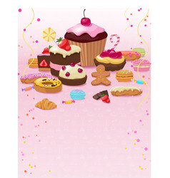 Colorful pastry and confectionery template vector