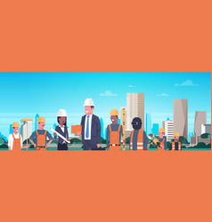 construction workers team over modern city vector image