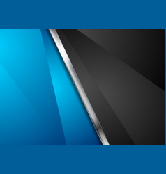 Contrast blue and black background with metallic vector