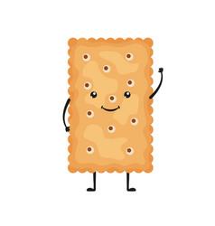Cracker characters funny biscuit cookies in vector