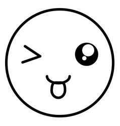 Crazy face emoticon with tongue vector