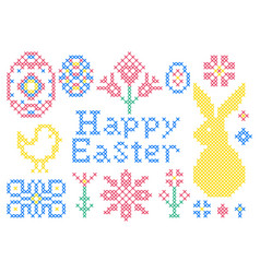 cross stitch embroidery elements vector image