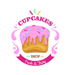 Cupcake with fowing topping and confetti vector