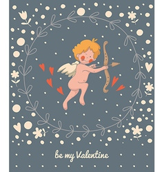 Cupid in a wreath vector image