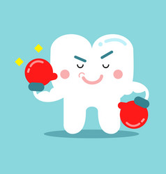 Cute cartoon tooth character in red boxing gloves vector