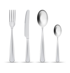 cutlery set of silver forks spoons and vector image vector image
