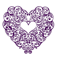 detailed hand drawn doodle lace ornate heart vector image