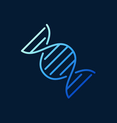 dna blue concept outline icon on dark vector image