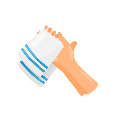 drying hands with a towel hygiene health care vector image