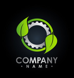 eco logo with leaf and gear symbol colored test vector image