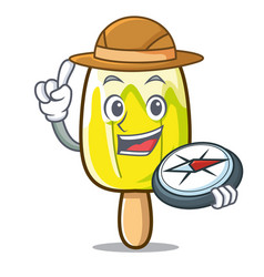 Explorer lemon ice cream mascot cartoon vector