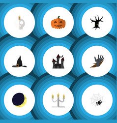 Flat icon festival set of witch cap zombie vector