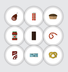 flat icon meal set of fizzy drink bratwurst vector image