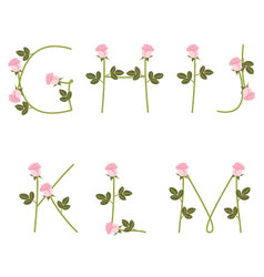 Floral alphabet Pink roses from G to M vector image