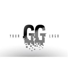 Gg g g pixel letter logo with digital shattered vector