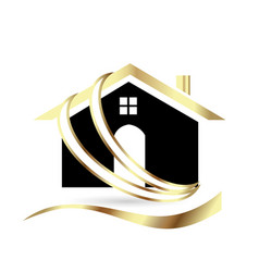 gold house icon symbol isolated vector image