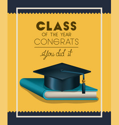 Graduation card with hat and book vector
