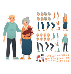 Grandparents characters constructor creation kit vector