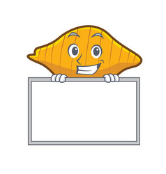 Grinning with board conchiglie pasta character vector