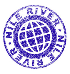 Grunge textured nile river stamp seal vector